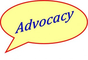 Yellow bubble image saying advocacy